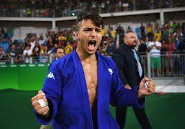 Fabio Basile celebrates winning  gold for Italy in judo at Rio 2016