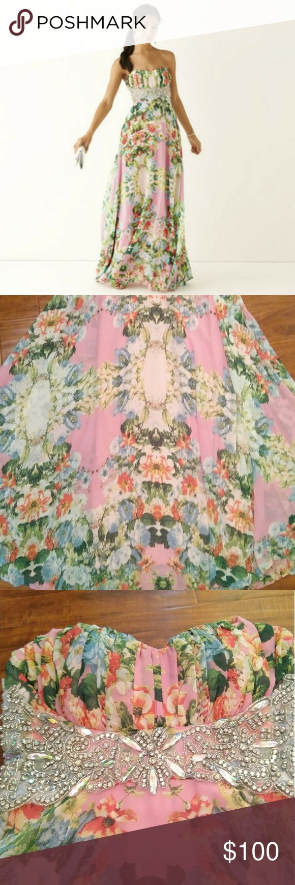 Strapless Pink/Blue Floral Elegant Prom Dress City Triangles Brand Strapless Embellished Waist Floral Print Prom Long Slim Dress  Juniors size small (1)  Very nice formal dress, however, I am 5'2.5 (yes that .5 is necessary :P) and the dress is rather long on me. Worn only once  Originally priced at $170  Feel free to send me an offer or ask any questions  Tags: homecoming prom elegant nightlife flower wedding bridesmaid City Triangles Dresses
