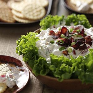 BLT Dip Recipe -Fans of bacon, lettuce and tomato sandwiches will fall for this creamy dip. It's easy to transport to different functions and always draws recipe requests. —Emalee Payne, Eau Claire, Wisconsin