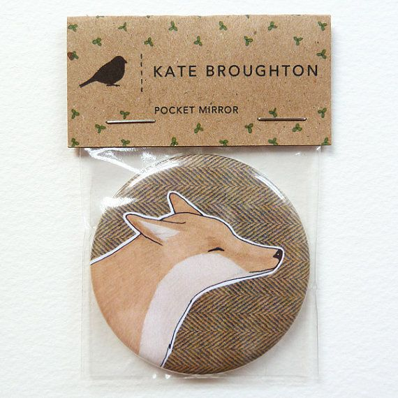 Fox pocket mirror by katebroughton on Etsy, £4.00