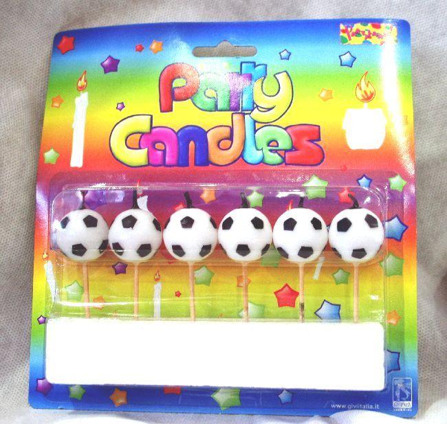 Candeline per Torta per Festeggiare a tema Calcio. Feste sportive o Festa di Compleanno. 6 candele per confezione. Disponibili da C&C Creations Store