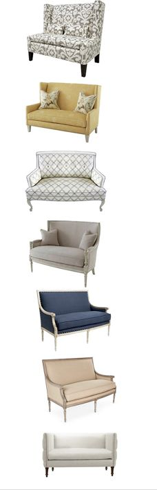 I love a settee at the foot of the bed, at the dining table, in a hallway, or any other small space. Good prices on these and more