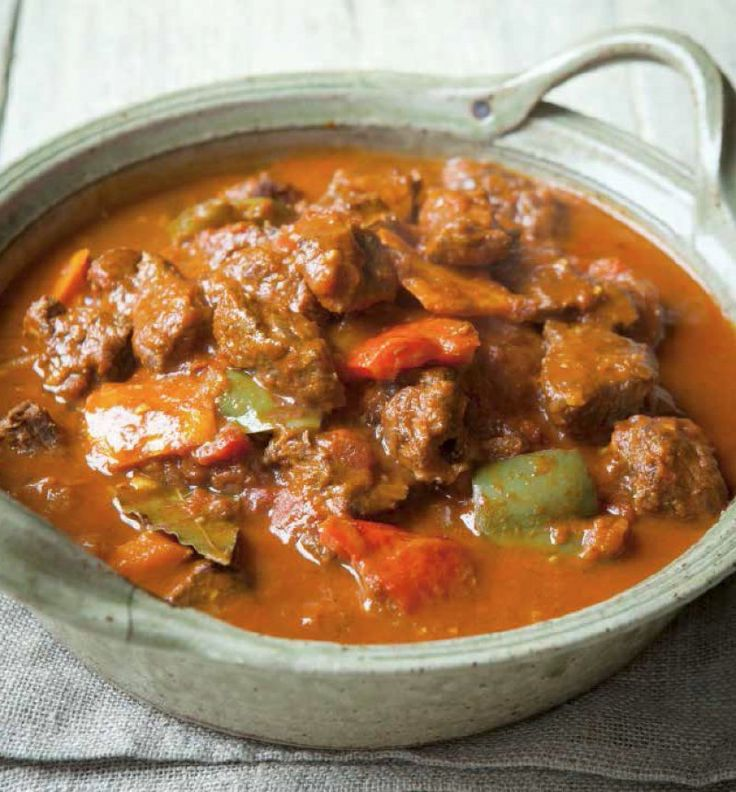 Beef goulash Lots of peppers and paprika make a good bit of braising steak into something special. A great foot stomping feast from Hungary to stop you feeling hungry!