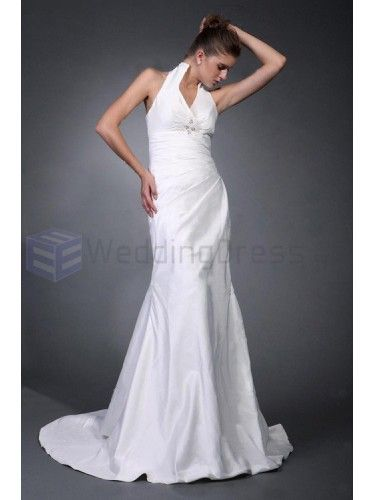 Trumpet Mermaid Halter Satin Taffeta Court Train Wedding Dress with Ruffles