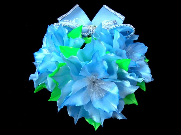 Blue lilies Hair Bun , Bridal Hair Bun , Flower Girl Hair Bun , Dance Recital Hair Bun , Ballet Bun Wrap by AccessoriesShop4you on Etsy