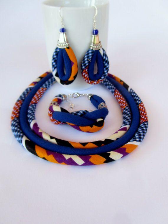 Cobalt-Blue Kente Set - African Jewelry Earrings Bracelet Necklace Set | Pinterest | Fabric jewelry, African fabric and Cobalt blue