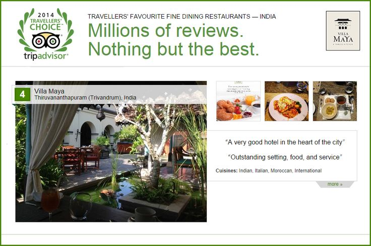 #VillaMaya has been listed in the top ten restaurants in India by #TripAdvisor (UK) and vouched by millions of seasoned travelers. Thank you all for choosing us for a truly wonderful dining experience.