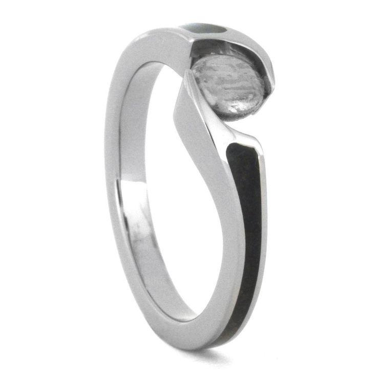 Meteorite Engagement Ring, Dinosaur Bone Ring In Titanium-3476
