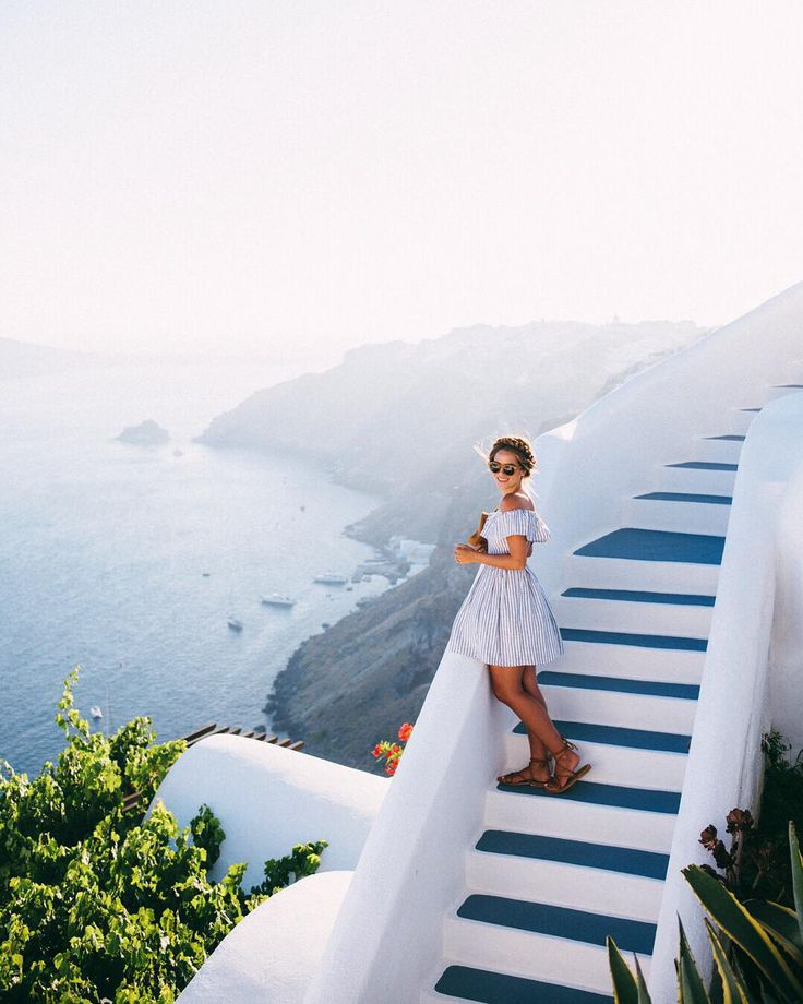 """""""This past summer @tberolz & I visited Greece for the first time. We started the trip in Mykonos and then took a ferry to Santorini. We fell in love with…"""""""