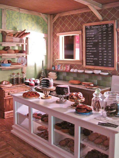 dollhouse miniature Norma's Cafe by Amy Gross......dream cafe, all that is…
