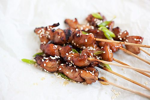 These look really good, esp with the little touch of five spice powder. Honey Sesame Chicken Skewers