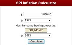 Inflation Calculator  Students will use the Inflation Calculator to learn how the buying power of the dollar has changed over the years.