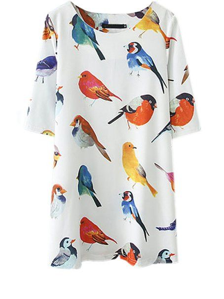 Overview: Bird Print Dress is trendy boho vintage and perfect to wear to a concert or wear to a party! Details: chiffon Size: Shoulder(cm): S 35.5, M 37, L 38.5, XL 40 Bust(cm): S 96, M 102, L 108, XL