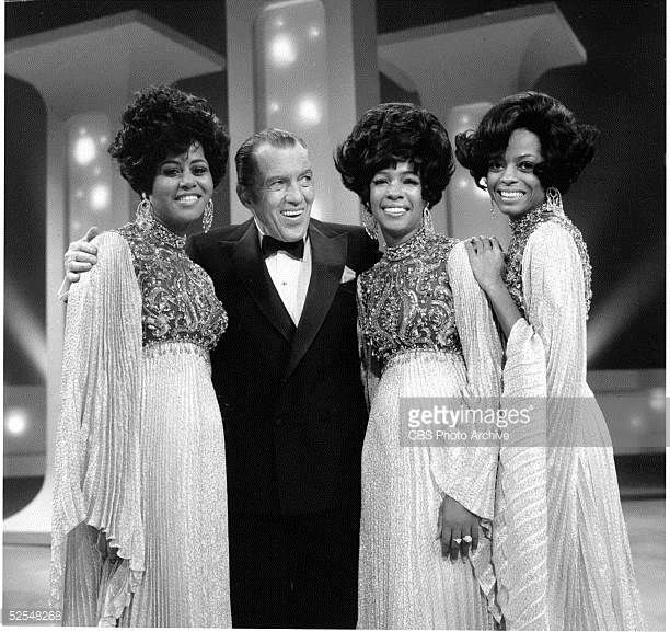 Cindy Birdsong Mary Wilson and Diana Ross pose with host Ed Sullivan on stage on 'The Ed Sullivan Show' New York New York December 20 1969