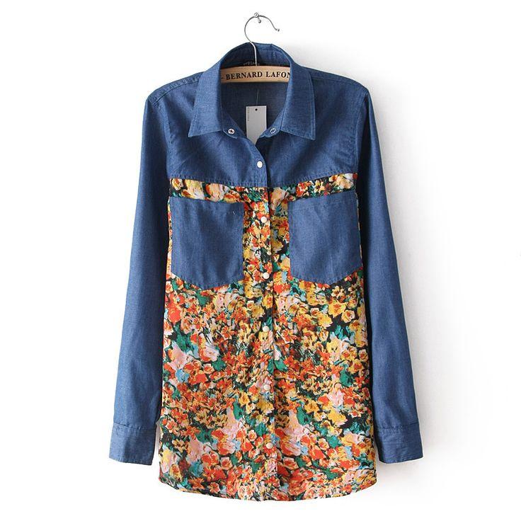 Кимоно деним принт цветок шитьё длинная рукавами деним рубашка женское цветочный кардиган блузка