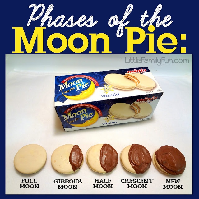 Owl Moon & Harold and the Purple Crayon - A tasty way to teach children the phases of the moon:  Moon Pies and chocolate! :)