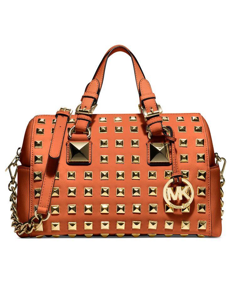 Top Trends from #NYFW: Bold Hues MICHAEL MICHAEL KORS #handbag #studs #