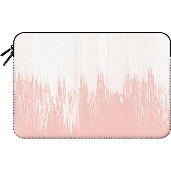Girly modern pink watercolor paint brushstrokes - Macbook Sleeve (1,135 MXN) ❤ liked on Polyvore featuring accessories, tech accessories, bags, fillers, purses and macbook sleeve