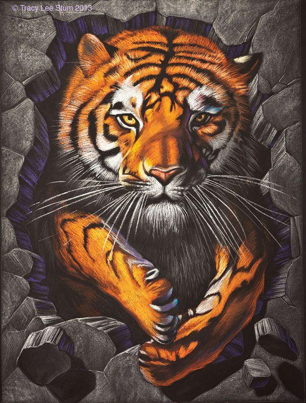Картинки нарисованные цветные художниками с тигром, выходного