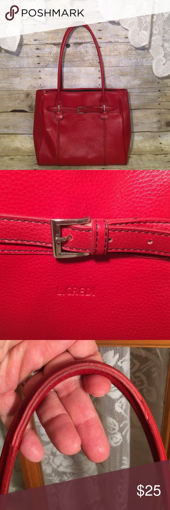 """L. Credi Deep Red Textured Leather Big Handbag 15"""" wide 11 1/2"""" high. Handle is 11"""". Can carry or use has s shoulder bag. Big single compartment. Pouch on one side, zippered pocket on the other. Other than a little wear on the strap, it is in near perfect condition. Non smoking home L. Credi Bags"""