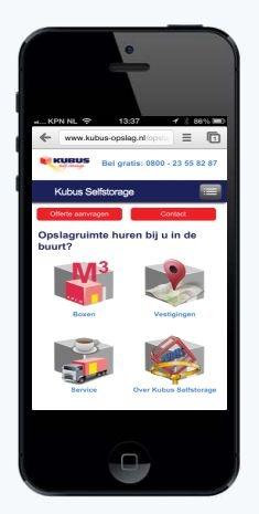 Een mobiele website voor Kubus Opslag: www.kubus-opslag.nl