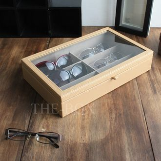 Leather Glasscase (light Brown) 6 Book Storage Spectacles Glasses  Eyeglasses Watch Watch Eyewear Sunglasses