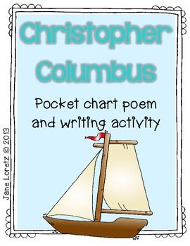 "Christopher Columbus (Pocket chart poem and writing activity)......Follow for Free ""too-neat-not-to-keep"" teaching tools & other fun stuff :)"