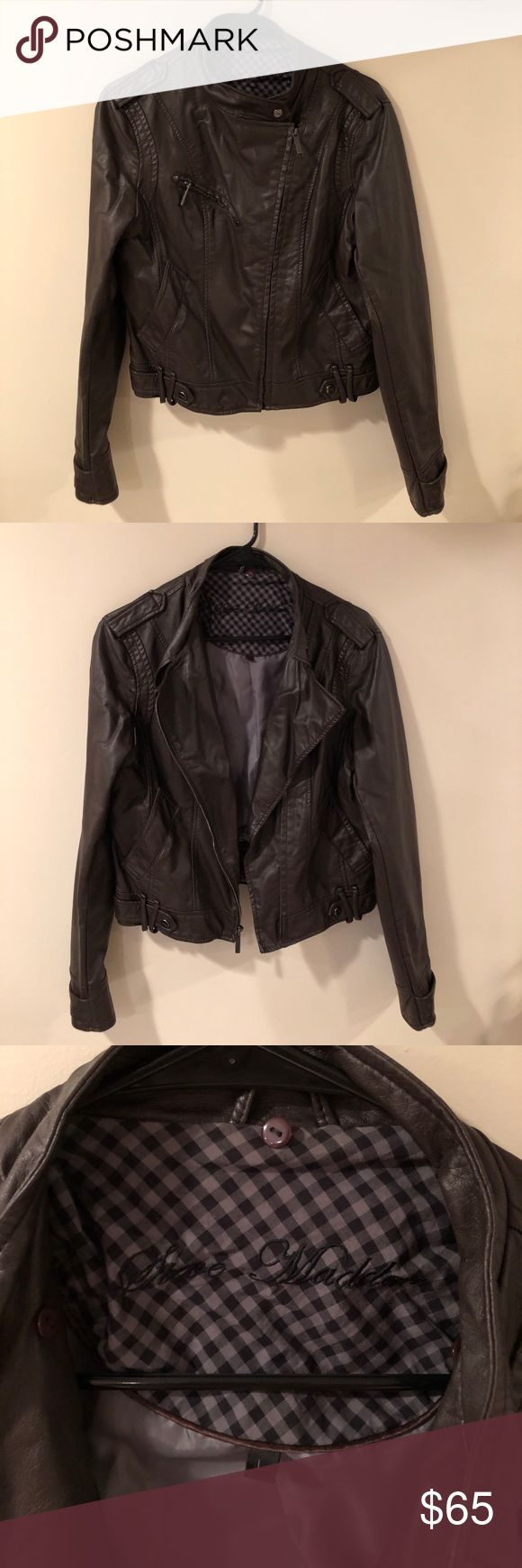 Steve Madden Faux Leather Jacket Size Large This cute jacket has been pre-loved and is in good condition! There are two indents near the top right back that were pressed against something in my closet (see photo). Please let me know if you have any questions. Steve Madden Jackets & Coats