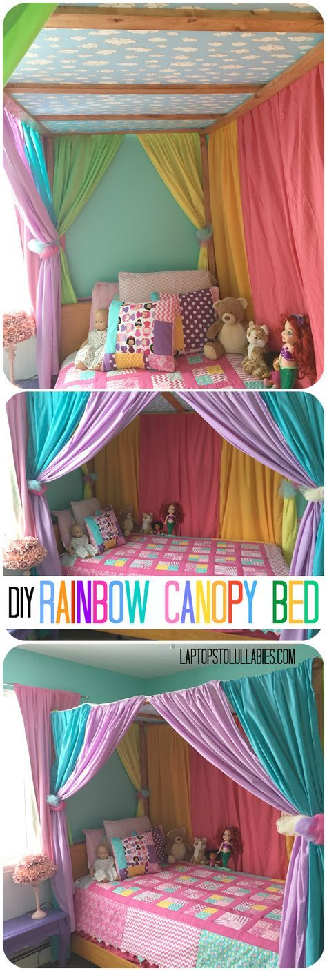 Featured kiddie DIY. Rainbow canopy bed. Kids rooms. Kids bedrooms. #bedrooms
