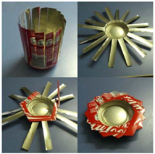 Tea light holder from aluminum can