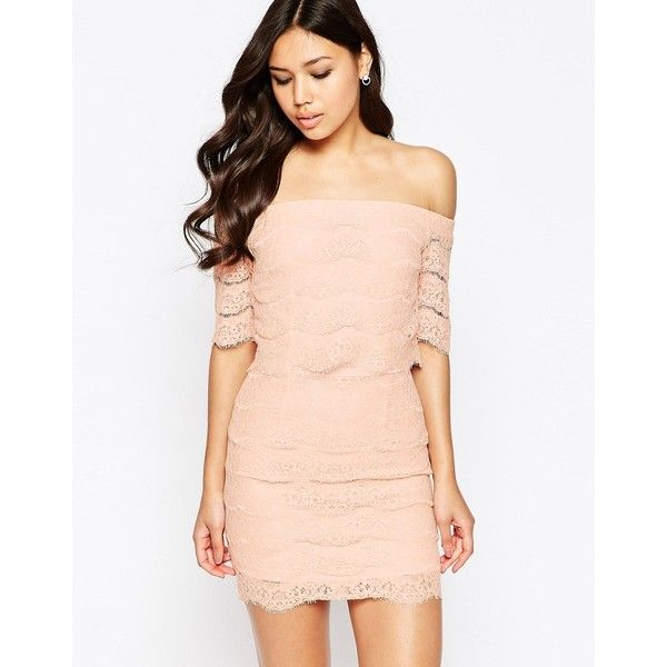 Girl In Mind Erin Off Shoulder Lace Mini Dress ($36) ❤ liked on Polyvore featuring dresses, nude, short dresses, pink dress, pink cocktail dress, lace dress and lace cocktail dress