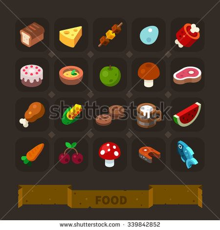 Fantasy game icons set: different food for higher health level: bread, cheese, egg, meat, cake, apple, mushroom, beefsteak, chicken, cookie, beer, fish. Flat vector icon set.
