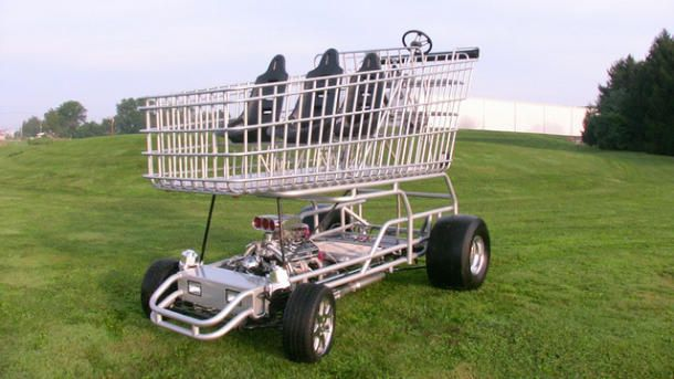 Shopper Chopper: A V8 shopping cart for Nascar drivers  Shop 'til you drop? How about shop 'til you hit ludicrous speed in your tricked-out shopping cart with a V8 engine.