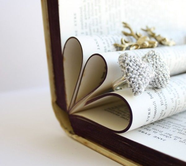 Folding in pages of an old book, makes a great display idea for rings, good photo staging too. http://www.jessicabiscoe.co.uk/archives/diy-craft-fair-display-ideas