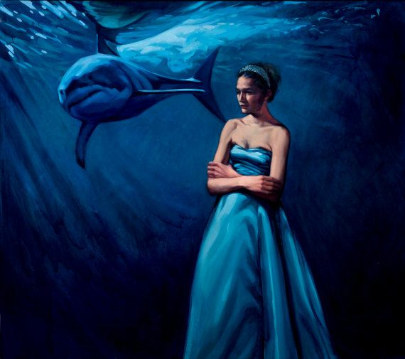 Oil painting girl woman blue prom dress shark by KatherineFraser, $5600.00