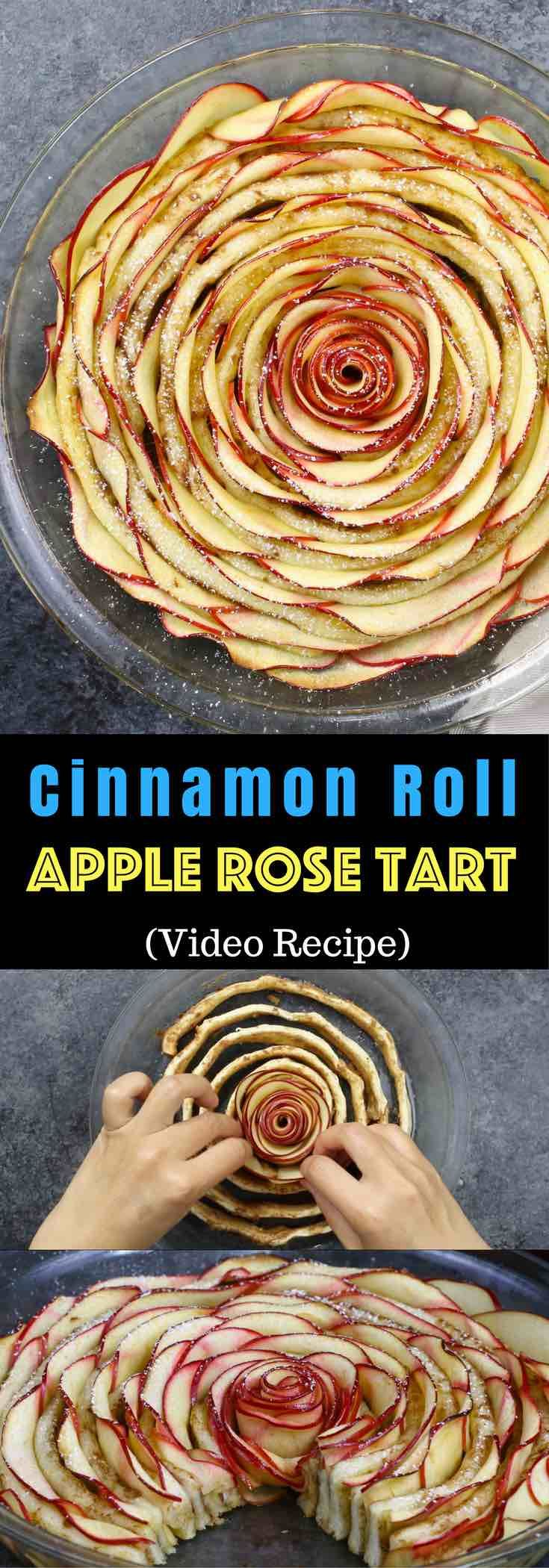 Wow your guests with this gorgeous and delicious Cinnamon Roll Apple Rose Tart. It's so easy to make and are perfect for any party. Made with fresh apples. All you need is only 5 simple ingredients: cinnamon roll dough, red apples, lemon juice, brown sugar and butter. So beautiful! Quick and easy recipe. Vegetarian. Video recipe. | Tipbuzz.com