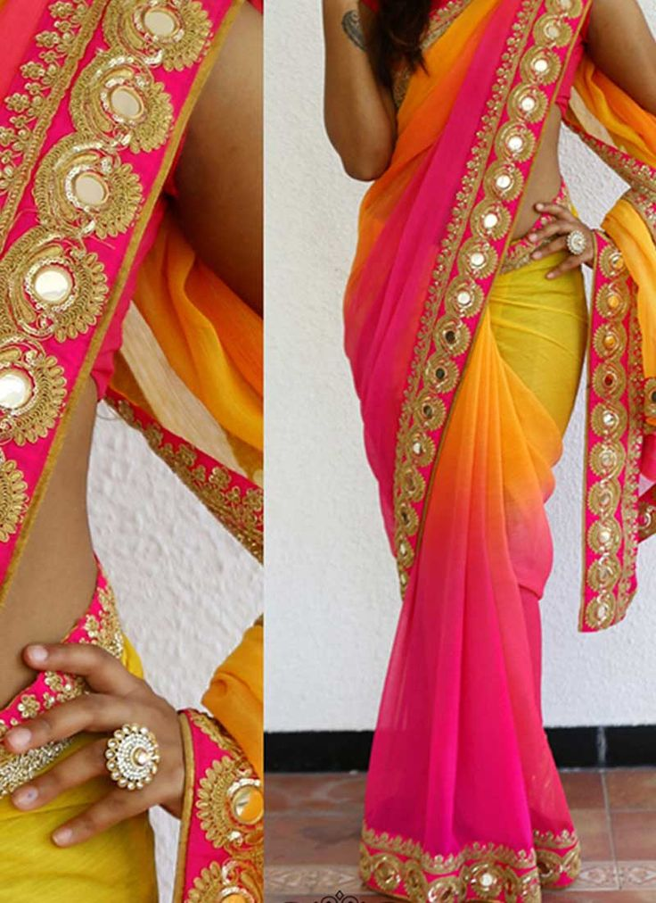 Yellow Pink Embroidery Work Chiffon Designer Party Wear Fancy Sarees. Buy online shopping sarees at - Banglore.