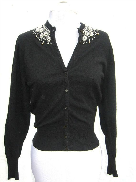 1950s Cashmere Beaded Black Cardigan Sweater