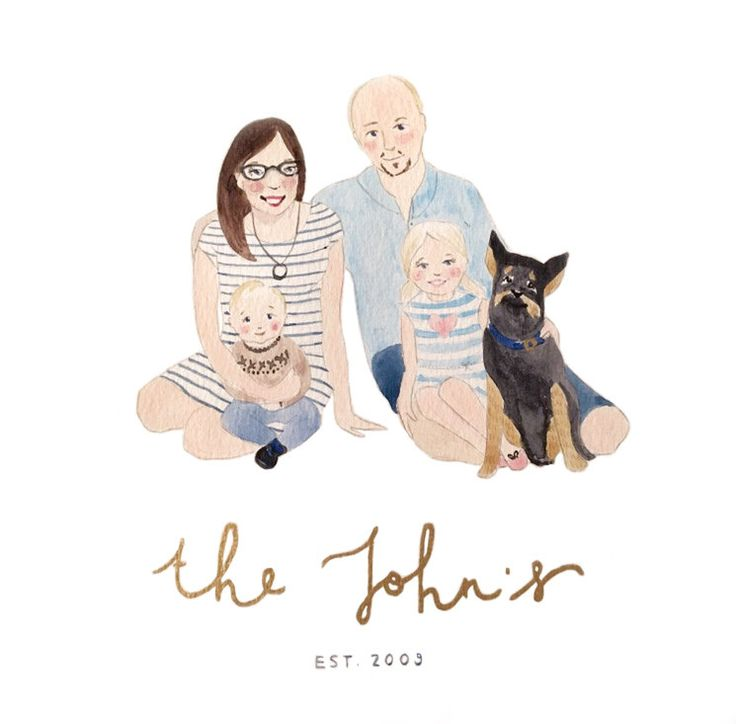 Family Portrait (four people and a pet) by AnnaSpilsburyDesign on Etsy https://www.etsy.com/au/listing/454663384/family-portrait-four-people-and-a-pet