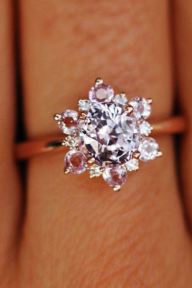 Eidel Precious Sapphire Engagement Rings ❤️ Eidel Precious engagement rings floral halo round cut rose gold