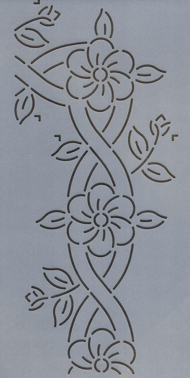 "Cable and Flower Border 8.5"" - The Stencil Company"