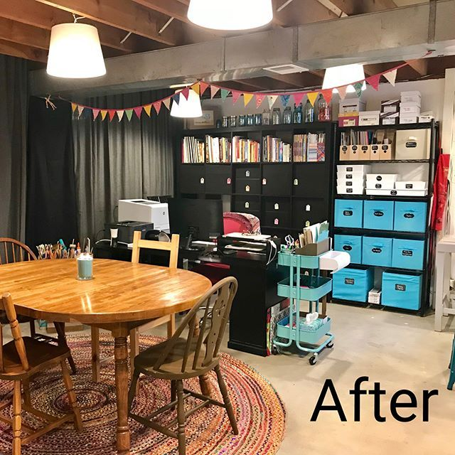 Check Out The Before Of This Basement Studio On Instragram It Was Transformed Into This Beautiful Basement Art Stud Art Room Doors Art Studio At Home Home Art