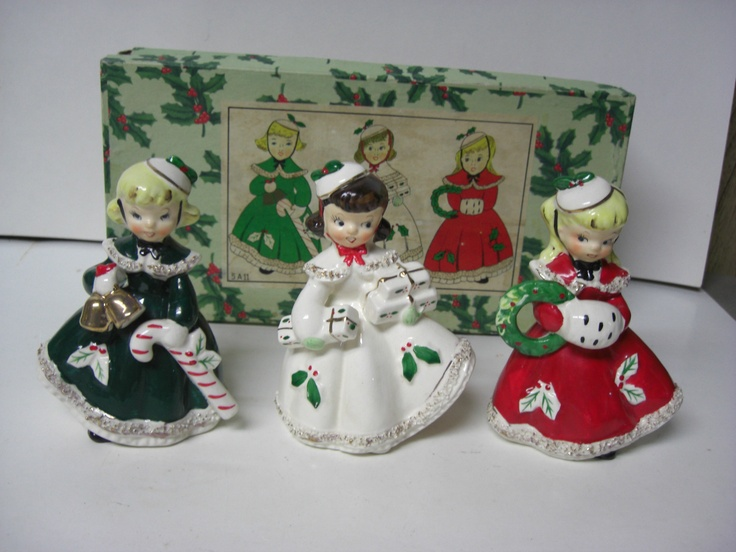 Vintage RELCO Ceramic 3 Christmas Ladies Girl Shoppers