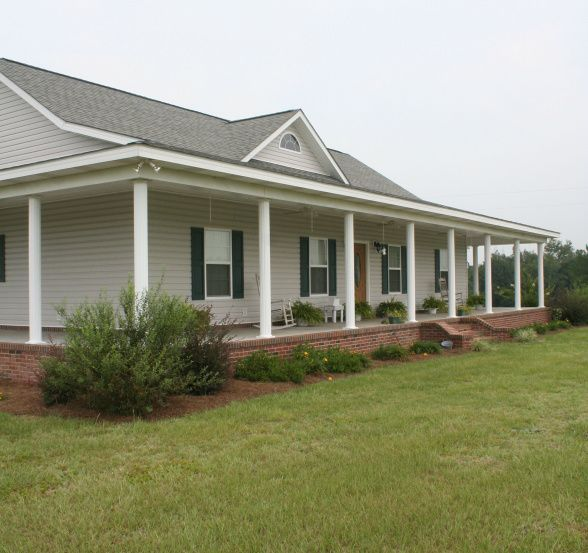 Wrap around porches porches and wraps on pinterest for Modular homes that look like farm houses