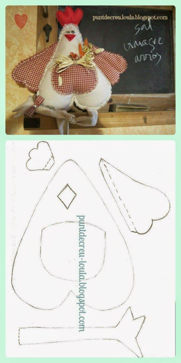 ARTE COM QUIANE - Paps,Moldes,E.V.A,Feltro,Costuras,Fofuchas 3D: molde galinha de retalho de tecido