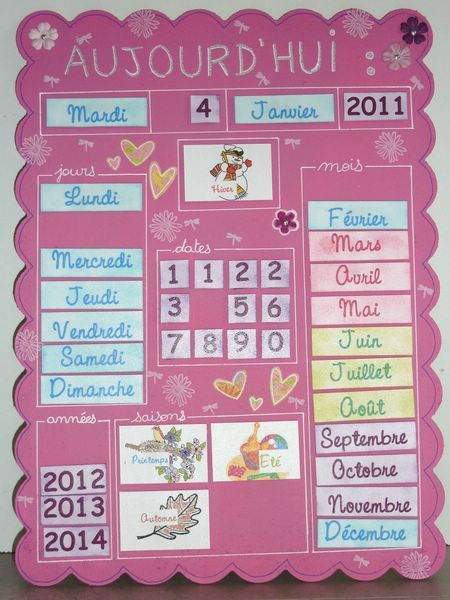 Voilà ce que le Père Noël a apporté à ma nièce pour Noël l'année dernière : un calendrier perpétuel avec des étiquettes aimantées. A demain pour un nouvel article !