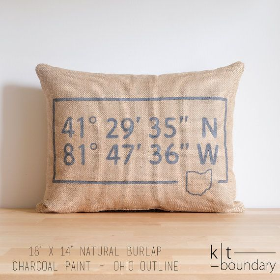 This pillow is the perfect addition to any home. It features your state or country at the bottom, map coordinates, and your choice of burlap and