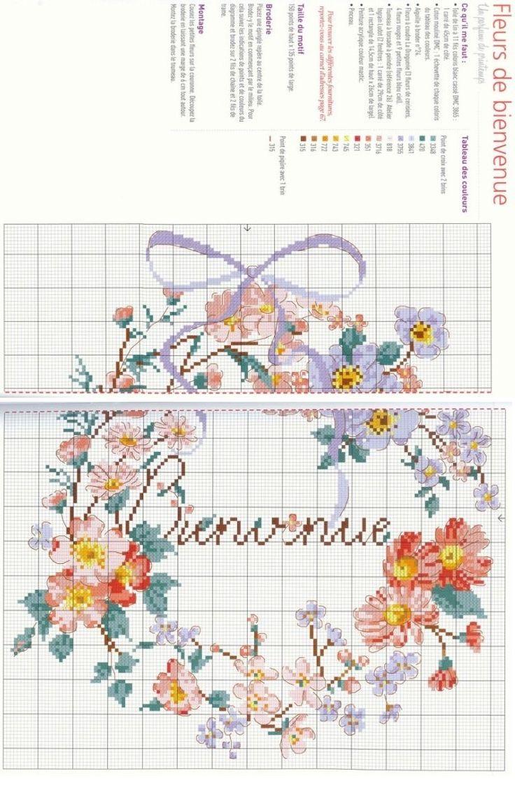 0 point de croix grille et couleurs de fils couronnes de fleurs bienvenue (cliquer 1 fois puis 1 autre fois pour agrandir)