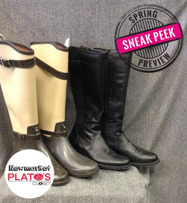 SNEAK PEEK - Grab these knee high boots at our Spring Preview this Saturday March 12th! The perfect shoe to complete an outfit! | www.platosclosetnewmarket.com