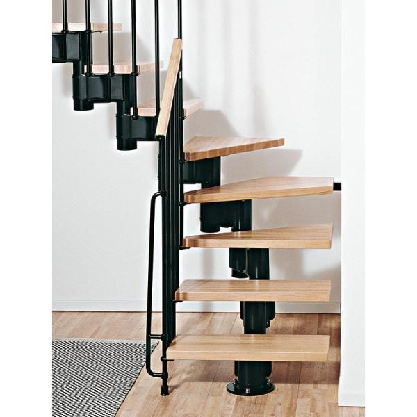 Arke Kompact 35 In Black Modular Staircase L Kit K35023 The   Spiral Staircase Home Depot   Steel   90 Degree   Alternating Tread   Outdoor   Small Metal